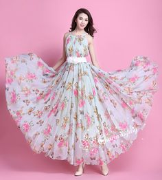 32 Colors Chiffon Butterfly Pink Flower Long Party by CHARMINGDIY