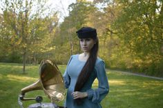 With grammophone in park. Riding Helmets, Park, Model, Vintage, Fashion, Moda, Fashion Styles, Scale Model