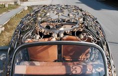 VW Beetle by Vrbanus, a metal art workshop founded in 1981. This took 2500 hours of handwork, detailed gilt with 24 kt gold & its ready to drive.