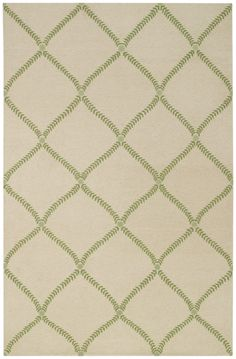This hand knotted Capel rug was made in India from 100% Wool. This transitional style area rug features a trellis pattern with beige and green…