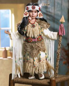 "Native American Indian Young Girl in Faux Buckskin Porcelain Doll Nadie 18""H 