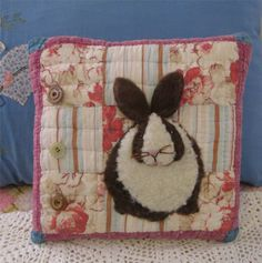 Applique BUNNY PILLOW Handmade from VINTAGE by AuntNannieCrafts