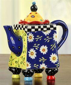 Living Color - Colorful Teapot by Joyce Shelton Studios. This tea has Legs! Teapots Unique, Teapots And Cups, Pot Sets, Ceramic Teapots, My Cup Of Tea, Chocolate Pots, Bunt, Tea Time, Whimsical