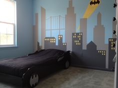 Amazing Kids Bedroom With Batman Decorations Ideas 8258 bedrooms for boys Amazing Kids Bedroom With Batman Decorations Ideas 8258 Batman Room Decor, Batman Bedroom, Batman Wall Art, 5 Year Old Boys Bedroom, Cool Kids Bedrooms, Trendy Bedroom, Chambre Nolan, Boy Room, Kids Room