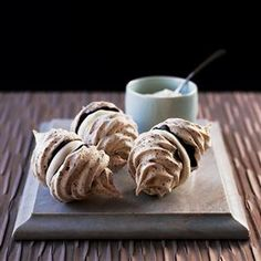 Nutty chocolate meringues recipe:  http://www.deliciousmagazine.co.uk/recipes/nutty-chocolate-meringues