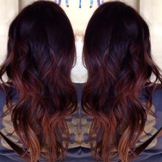 dark red and balayage highlights and teasing ombré mixed together
