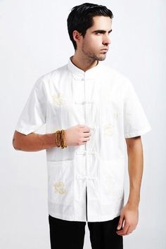 Free Shipping ! Summer White Tradition Chinese Men's Cotton Linen Embroider Dragon Kung-Fu Shirt M L XL XXL XXXL M14