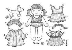 Karen`s Paper Dolls: Susie Paper Doll Onesheet to Colour. Susie påklædningsdukke…