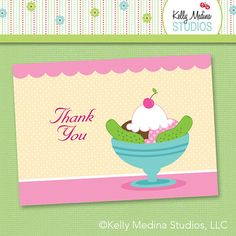 Ice Cream and Pickles Baby Shower Thank You by Kellymedinastudios, $5.99
