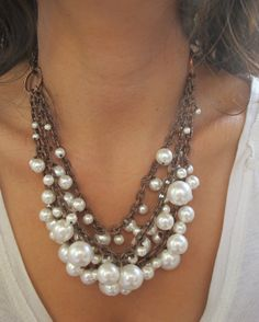 Swarovski Pearl Necklace.Statement Necklace.Wire by BeansStore, $53.00