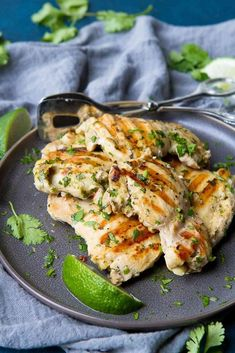 There's nothing easier than whipping up a batch of this Grilled Cilantro Lime Chicken for dinner! Plus, it can be made ahead and frozen. 217 calories and 3 Weight Watchers Freestyle SP via @cookincanuck
