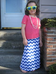 Girl's Chevron Stripe long Maxi Skirt  Cotton by ChevronScarf, $29.00