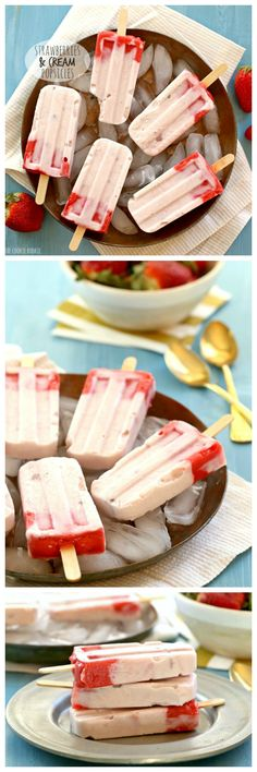 Strawberries and Cream Pops made with creamy strawberry yogurt and pureed fruit. Delicious, easy, and healthy treat the whole family will love! #AussieStyle @yuluyogurt