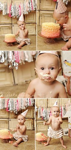 First Birthday Cake Smash | Hellobee - Great photo shoot idea to do ahead of time since birthday parties are so hectic!