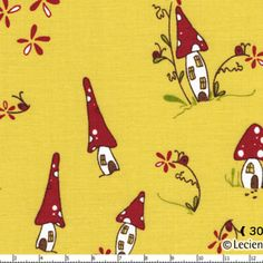 Natalie Lymer - Woodland - Woodland Village in Yellow. Could make cute linen towels, napkins for the kitchen/dining area.