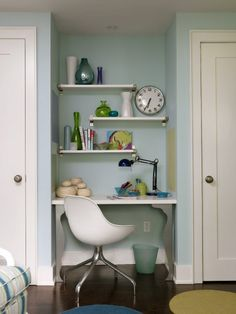 Find a desk to fit nook in center upstairs BR and add shelves or bulletin boards