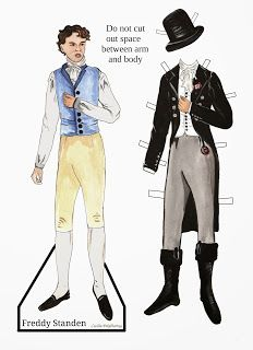 Cotillion by: Georgette Heyer. Freddy Standen paper doll drawn by artist: Cecilia Pekelharing -- Oh my! Love to have played with those around! Comic Book Paper, Doll With Hair, Georgette Heyer, Paper People, Vintage Paper Dolls, Doll Parts, Pastel Drawing, Movie Costumes, Paper Toys
