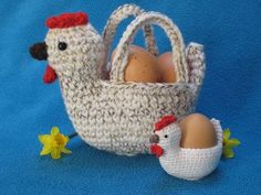 Chicken Egg Hunt Basket Easter Bowl Amigurumi by Millionbells Egg Basket, Easter Baskets, Half Double Crochet, Single Crochet, Crochet Chicken, Cute Chickens, Crochet Diy, Egg Holder, Chicken Eggs