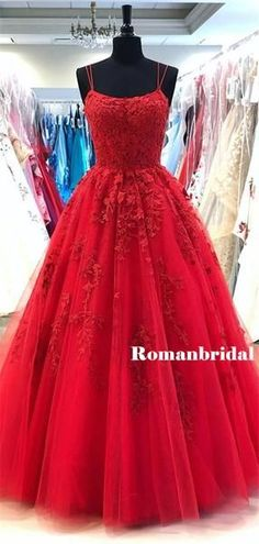 Popular A-line Spaghetti Straps Lace Appliques Long Red Prom Dresses, - Proom Dress Tulle Prom Dress, Grad Dresses, Mermaid Dresses, Casual Dresses, Formal Dresses, Elegant Dresses, The Dress, Dress Long, Dresser