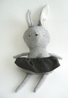 Gray bunny plush whit black skirt - White ears - First baby toy handmade - Minimalist toy for kid's - Eco-friendly toy - Nursery Toy's