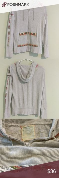 "Free People Hoodie Light heather gray thermal hoodie, full zipper with 2 pockets, beaded detail, some loose threading and beads, 21"" pit to pit, and 25"" long Free People Tops Sweatshirts & Hoodies"