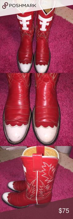 Texas Tech Justin Boots Red & White Justin Boots with TT on the front for Texas Tech. There is marks on the toes can be seen in pics, marks on the backs of the boots, & a mark on the right side of the right boot. They were my daughters Boots size 5 1/2AA well loved, but still in good condition! Nothing a little polish couldn't take care of I'm sure! Justin Boots Shoes Heeled Boots