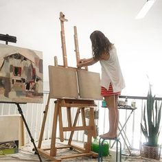 """Getting set up...my easel, my incense burning, music, clean (ish) brushes, cup of tea and just missing my studio buddy 🐶💙. So many new ideas brewing inside of me and hoping they come out as they are in my head.  They won't.  I'll sit there watching the canvas like: """"what happened? That's not what you were supposed to look like."""" Then I'll play, tweak, walk away, think, come back and then eventually call it done.  And when that happens it's both scary and beautiful.  So here is to all the…"""