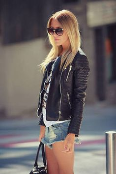 Full length (well to the waist) leather jacket, So cute :)