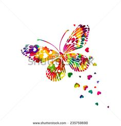 Colorful abstract watercolor butterfly with hearts on a white background. Valentine's Day.  Vector