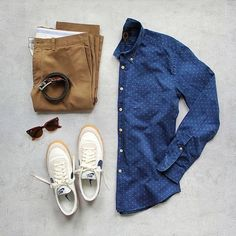 Mens outfit grid - denim button down outfit