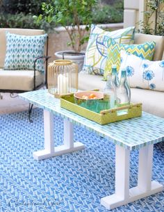 beautiful outdoor space and awesome DIY mosiac table
