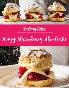 Substitute LorAnn's Almond Bakery Emulsion for the extract in this strawberry shortcake recipe with a grown-up twist. Summer Desserts, Just Desserts, Delicious Desserts, Dessert Recipes, Fruit Dessert, Mini Desserts, Dessert Bars, Dessert Table, Strawberry Shortcake Recipes