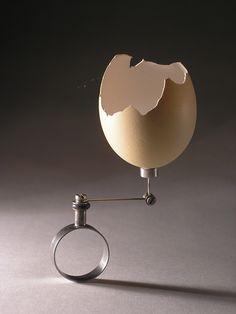 Klimt02.net Karel Novák. Modern Classic 2015 - Vratislav Karel Novák. Rock, ring, 1996. Steel, steinless steel, rubber, chicken egg shell. Photo by Bohumil Jakoubě