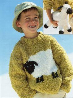 Knitting Pattern Dog Motif : PDF Knitting Pattern for a Childs Westie & Scottie Dog Motif Sweater - In...