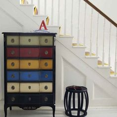 Paint chest drawers different colors to add interest!