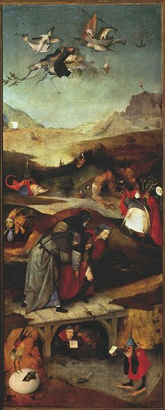 Temptation of Saint Anthony Hieronymus Bosch 1490 Unframed Art Print Religious Hieronymus Bosch Paintings, Temptation Of St Anthony, Renaissance Artists, Art Articles, Medieval Art, Fantastic Art, Triptych, Religious Art, Art Google