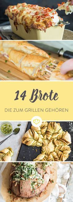 20 ziemlich geniale Grillbrote – mehr als eine Beilage! The best am grill are not the saftigen Steaks and the krossen Würstchen, sondern this 14 genialen Brote – filled, overbacken and gegrillt. Grilling Recipes, Snack Recipes, Cooking Recipes, Brunch Recipes, Bread Recipes, Healthy Recipes, Receta Bbq, Pan Relleno, Grilled Bread