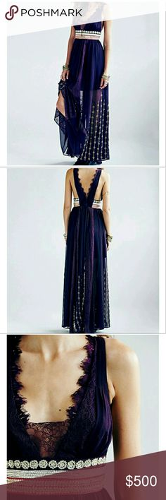 NWOT RARE FREE PEOPLE MAXI DRESS GOWN Gorgeous maxi gown. Brand new. Rare and sold out. Color does not have quite as much blue as in the stock photos. It's a little more raisin colored. More photos to come. Free People Dresses Maxi