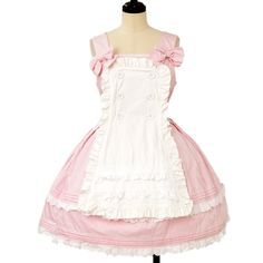♡ Angelic pretty ♡ Pink apron with a jumper skirt http://www.wunderwelt.jp/products/detail12108.html ☆ ·.. · ° ☆ How to order ☆ ·.. · ° ☆ http://www.wunderwelt.jp/user_data/shoppingguide-eng ☆ ·.. · ☆ Japanese Vintage Lolita clothing shop Wunderwelt ☆ ·.. · ☆