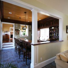 Half wall trim ideas. Kitchen revamp but no bar in the middle. Love this it would fit so well in my house.