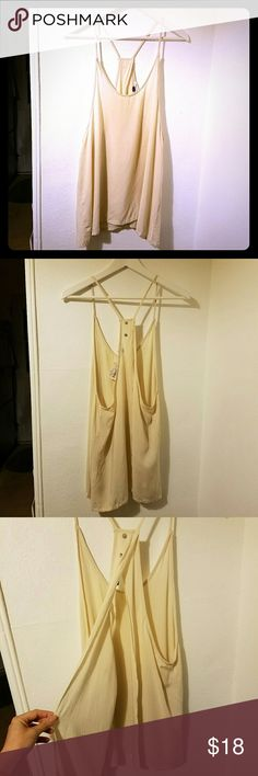 """NWT Open back tank from Phanuel Beige/Natural colored rayon tank that splits in the back to open. Longer cut (hits at the bottom of hips on me and I'm 5'3"""") and open sides, great for showing off those cute bralettes??. Cute little button detail at the top of back?? phanuel Tops Tank Tops"""