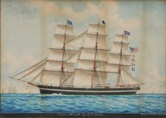 """Louis Francois Roux - Lot 254 from September 2012 Auction  (French, 1817-1903) """"Therese"""" of New York, Capt. D.F. Worth, signed lower right """"Louis Roux [with anchor] 1881"""" and inscribed """"Louis Roux Paredis 22 Marseilles"""", watercolor on paper, 20 x 28 in., 19th century possibly original gilt frame; together with an early photograph of Capt. Daniel F. Worth by D.C. Burrell, Brockton, Massachusetts - Estimate $2,000 to $3,000"""
