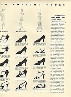 love these! (don't know if I could wear them, though-- high heels...) Vogue's seven shoe and costume types 1936