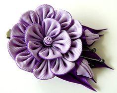 Kanzashi fabric flower hair clip Purple fabric flower. от JuLVa