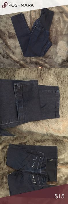 Skinny Leg Maternity Jeans Dark blue, soft denim & stretchy. Size medium. Skinny leg (jeggings). Great condition, barely wore. Has rhinestones on back pockets. Jeans Skinny