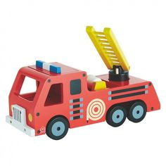 FIRE ENGINE Red fire engine wooden toy