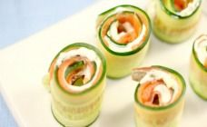 Cucumber and smoked salmon roll-ups
