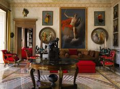 The Lake Como home of Gianni Versace who also collected Biedermeier. These piece are darker blonde.