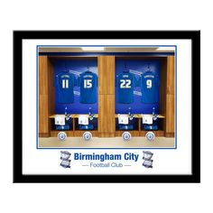 This is a fabulous present for any Birmingham fan and is approved and fully licensed by Birmingham FC. The photograph was taken in the actual Birmingham First Team dressing room.   Your selected surname and number will be merged onto the centre shirt to exactly match your team mates'.  Team mates are - Cotterill 11, Shinnie 22, Donaldson 9  Each Print comes ready to hang in a stylish black frame and measures 400mm x 340mm.  Players and managers names will be modified on this product to…