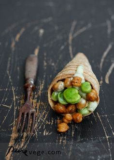 Cones with Roasted Chickpeas. Sounds like a lot of work, but maybe a venture for someday...